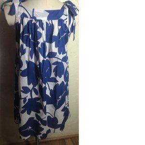 Echo New Blue White Cotton Sun Dress Size M